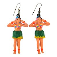 Vintage 1960s Plastic Hula Girl Charm Earrings Handpainted