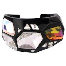 Swarovski Black Lucite Crystal Cuff Bracelet Big Faceted Stones