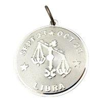 Vintage Sterling Silver LIBRA Astrology Charm Pendant Horoscope