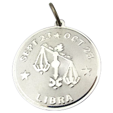 Vintage Sterling Silver LIBRA Astrology Charm Pendant Horoscope