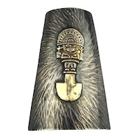 Peruvian Sterling 18K Gold Curve Pin Brooch Pendant Inca