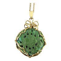 Old Chinese Carved Turquoise Pendant Longevity GF Necklace
