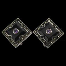 Judith Jack Sterling Silver Marcasite Clip Earrings