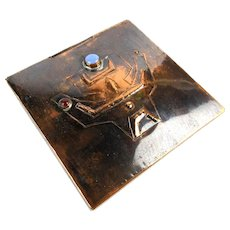Modernist Burnished Copper Box - Handmade Jeweled Etched