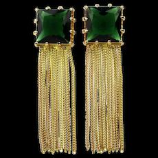 Vintage Faux Emerald Golden Tassel Earrings
