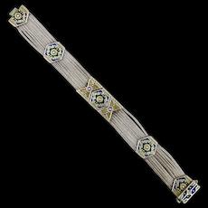 Old Exotic Bracelet Sterling Silver Enamel