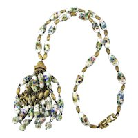 Crown Trifari Venetian Glass Necklace w/ Jeweled Painted Beads