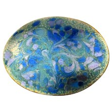 Mid Century INGA Enamel Copper Pin Brooch Etched Floral Swirl
