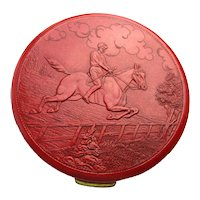 Pancake Size Embossed Red Leather Compact Equestrian by REX 5th Ave.