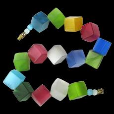 Vintage Satiny Lucite Color Cubes Bead Bracelet