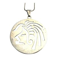 Taxco Mexican Cutout Aztec Face Sterling Silver Pendant Necklace