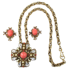 Jeweled Maltese Cross Necklace Earrings Set Faux Coral Gorgeous Design