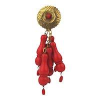 Art Deco 1930s Dress Clip w/ Mega Bakelitish Dangle Beads