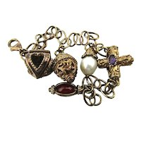 Gilded Sterling Silver Charm Bracelet w/ 5 Fancy Charms