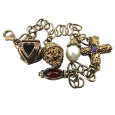 Gilded Sterling Silver Charm Bracelet w/ 5 Fancy Charms