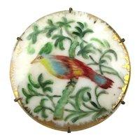 Victorian Hand-Painted Porcelain Bird Pin Brooch