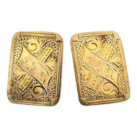 Victorian Gold-Filled Etched Stud Cufflinks
