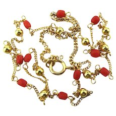 14K Yellow Gold Coral Bead Chain Necklace