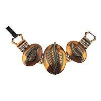 Mid Century Copper Link Bracelet Leaf Overlay