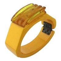 Art Deco Era Bakelite Clamper Bracelet w/ Ribbed Top