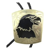 Southwest Magestic EAGLE Bolo Tie Enamel on Silvertone Signed