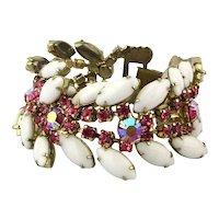 Vintage Pink Rhinestone White Glass Bracelet