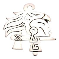Signed Taxco Sterling Silver Aztec Face Head Pin Brooch