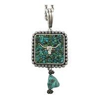 Southwest Genuine Turquoise Pendant Necklace Longhorn Steer