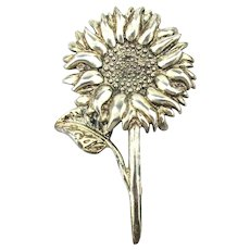 Detailed Taxco Sterling Silver Sunflower Pin Molina TM-90 SMM