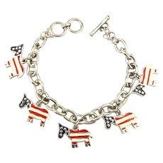 Political Donkey Charm Bracelet Democratic Red White n Blue Flag