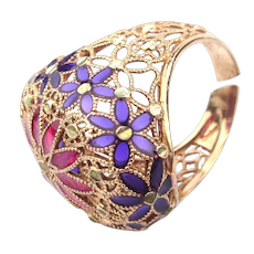 Plique-a-Jour Enamel Ring - Gold Vermeil on Sterling Silver