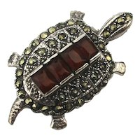 Sterling Silver Jeweled Turtle Pin Marcasite Rhinestone