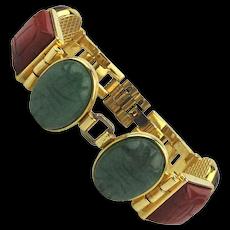 Carved Scarab Link Bracelet Tiger Eye - Jade - Jasper