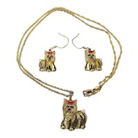 Yorkie Gold on Sterling Silver Necklace Earrings Set - Yorkshire Terrier