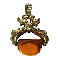 Victorian Gilded Spinning Stone Fob Pendant