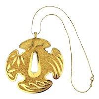 Crown Trifari Big Bold Goldtone Medallion Pendant Necklace