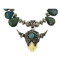 Native American Buffalo Skull Necklace - Sterling Silver Turquoise