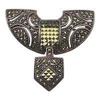 Art Deco Style Judith Jack Sterling Silver Pin Brooch