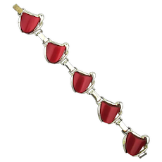 1950s Red Moonglow Thermoset Link Bracelet
