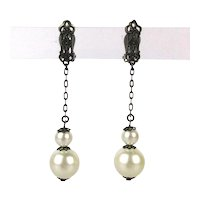 LEWIS SEGAL California Black Chain Dangle Earrings w/ Pearl Drops