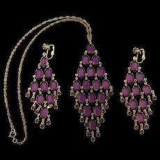Cascading Purple Crystal Dangle Necklace w/ Earrings Set