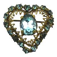 Old Czech Rhinestone Heart Pin Brooch