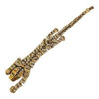 Great Articulated Rhinestone Enamel TIGER Bracelet