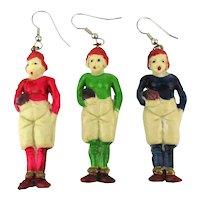 Pair Set 1940s Celluloid Football Player Charm Earrings - Handpainted Team