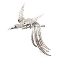 Crown Trifari Great Big Bird Pin Brooch - Long Tail