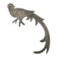 Old Victorian Sterling Silver Bird Pin Brooch Long Tail Detail