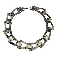 GIVENCHY Black Enamel Necklace w/ Rhinestone Links