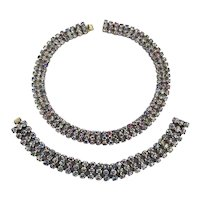 SOLD TO K.T. - Art Deco Era AB Rhinestone Choker Necklace - Bracelet Set