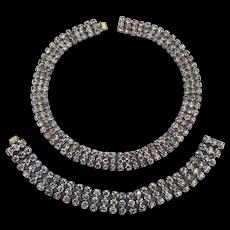 SOLD TO K.T. - Art Deco Era AB Rhinestone Choker Necklace - Bracelet Set