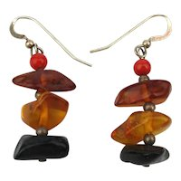 Dangling Stack of Amber Nugget Sterling Silver Earrings